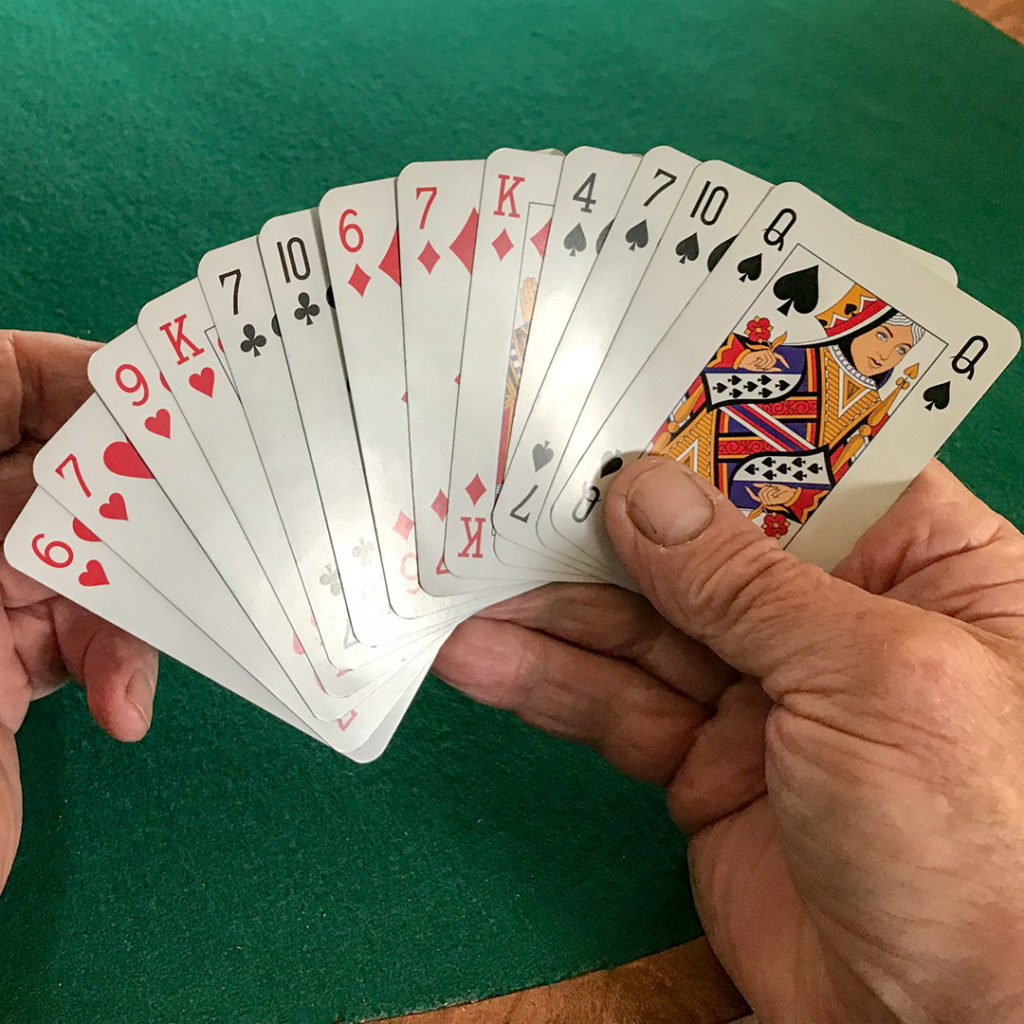 A hand of playing cards