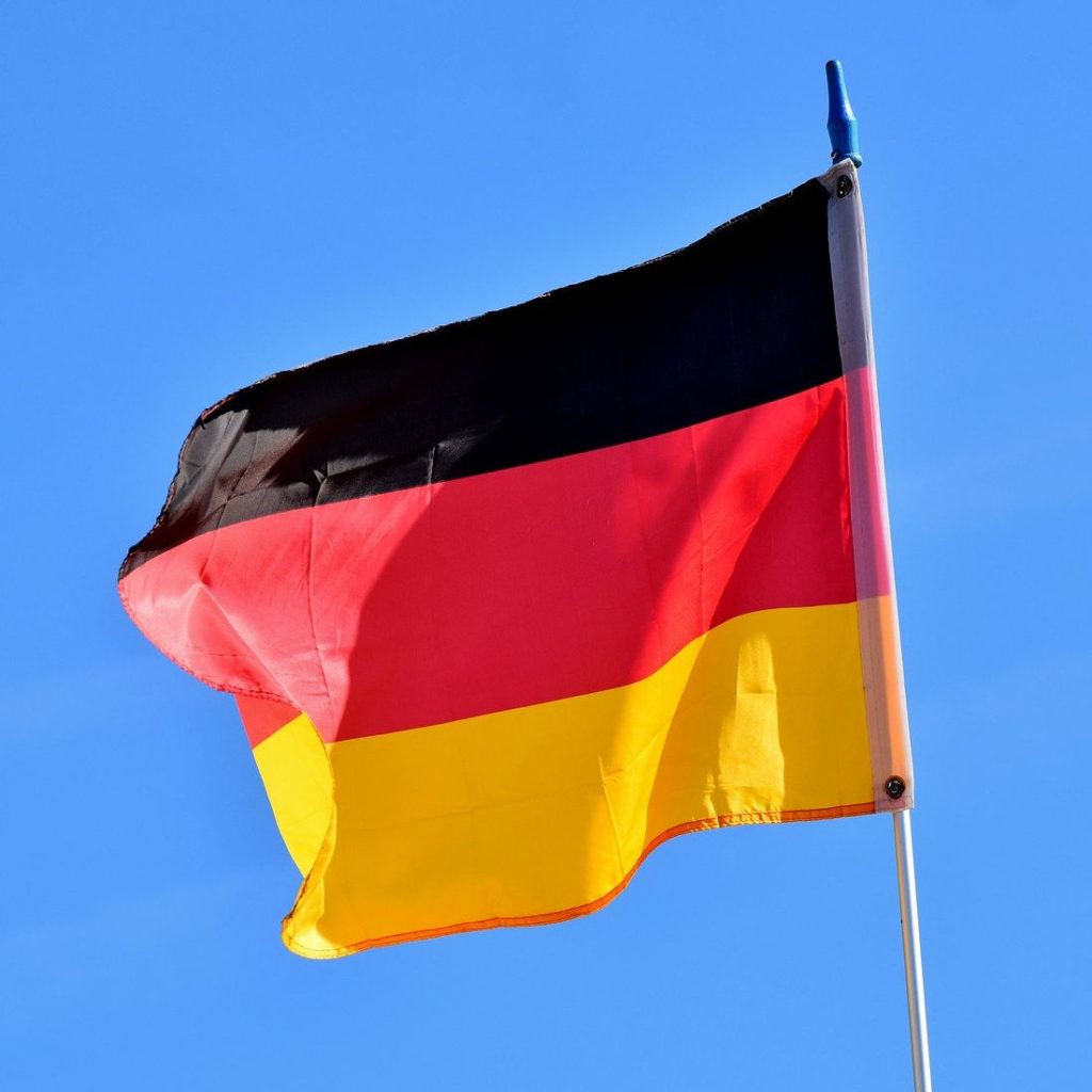 A german flag in a breeze