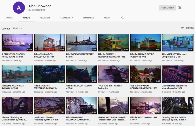 Screen-grab of Alan Snowdon's Videos tab