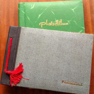 Photo albums on coffee table